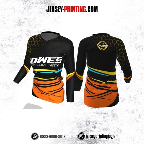 Jersey Cewek Gowes Sepeda Hitam Orange Motif Honeycomb Kuning Lengan Panjang