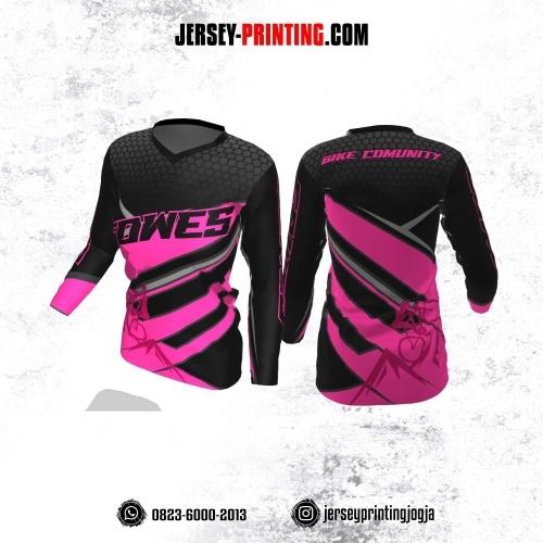 Jersey Cewek Gowes Sepeda Hitam Pink Abu-abu Motif Honeycomb Lengan Panjang