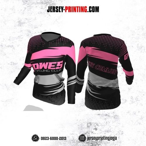 Jersey Cewek Gowes Sepeda Hitam Pink Abu-abu Motif Polkadot Lengan Panjang