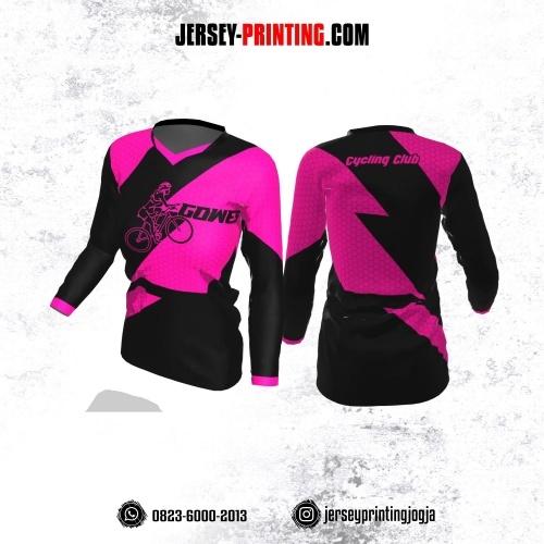 Jersey Cewek Gowes Sepeda Hitam Pink Fuchsia Motif Honeycomb Lengan Panjang