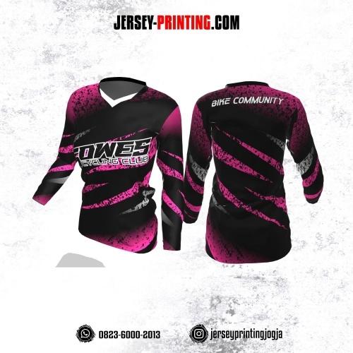 Jersey Cewek Gowes Sepeda Hitam Pink Motif Bercak Lengan Panjang