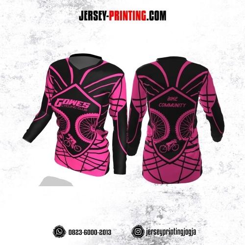 Jersey Cewek Gowes Sepeda Hitam Pink Motif Garis Abstrak Lengan Panjang
