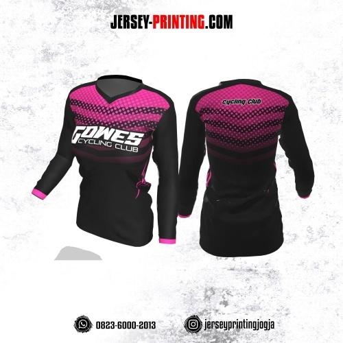 Jersey Cewek Gowes Sepeda Hitam Pink Motif Polkadot Lengan Panjang