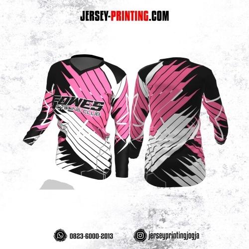 Jersey Cewek Gowes Sepeda Hitam Pink Putih Motif Garis Lengan Panjang