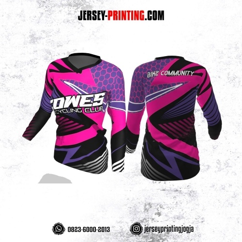 Jersey Cewek Gowes Sepeda Hitam Pink Ungu Motif Honeycomb Lengan Panjang