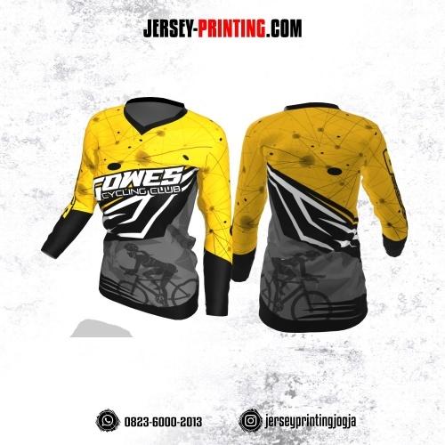 Jersey Cewek Gowes Sepeda Kuning Abu-abu Hitam Motif Garis Abstrak Lengan Panjang