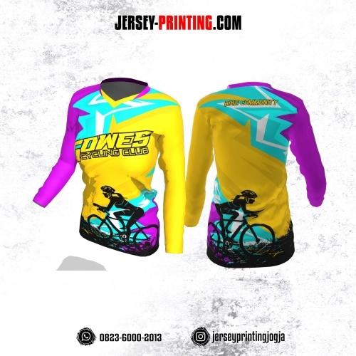 Jersey Cewek Gowes Sepeda Kuning Biru Ungu Hitam Lengan Panjang