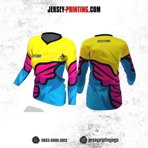 Jersey Cewek Gowes Sepeda Kuning Corak Biru Pink Lengan Panjang
