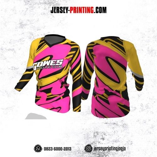 Jersey Cewek Gowes Sepeda Kuning Corak Pink Hitam Lengan Panjang