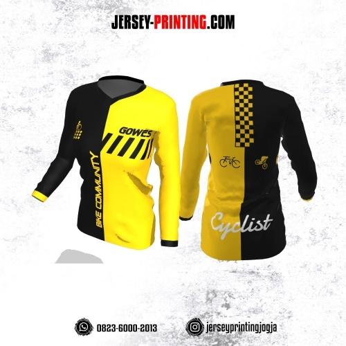 Jersey Cewek Gowes Sepeda Kuning Hitam Motif Geometris Lengan Panjang