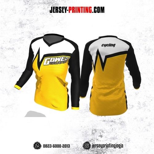 Jersey Cewek Gowes Sepeda Kuning Hitam Putih Motif Stripe Lengan Panjang