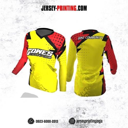Jersey Cewek Gowes Sepeda Kuning Merah Motif Polkadot Hitam Lengan Panjang
