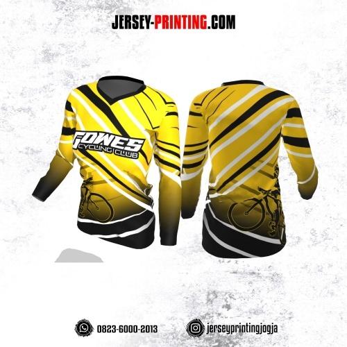 Jersey Cewek Gowes Sepeda Kuning Motif Garis Hitam Putih Lengan Panjang