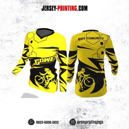 Jersey Cewek Gowes Sepeda Kuning Motif Kilat dan Hexagon Hitam Lengan Panjang