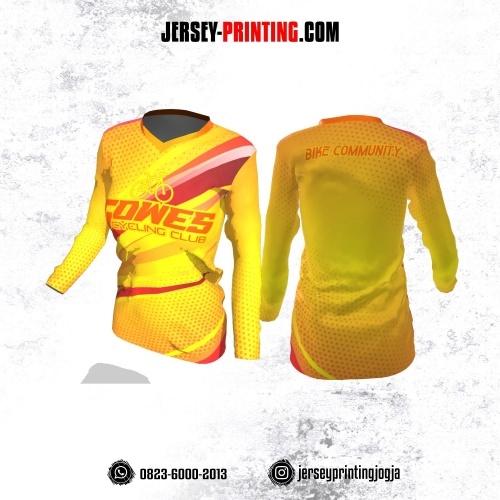 Jersey Cewek Gowes Sepeda Kuning Motif Polkadot Orange Lengan Panjang