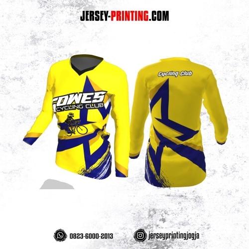 Jersey Cewek Gowes Sepeda Kuning Navy Motif Brush Lengan Panjang