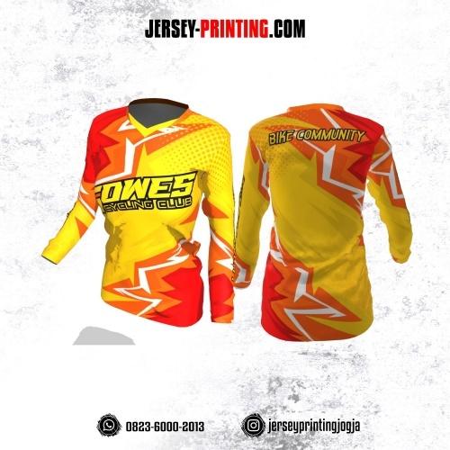 Jersey Cewek Gowes Sepeda Kuning Orange Putih Motif Kilat Lengan Panjang