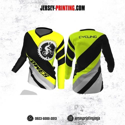 Jersey Cewek Gowes Sepeda Kuning Stabilo Corak Hitam Abu-abu Lengan Panjang