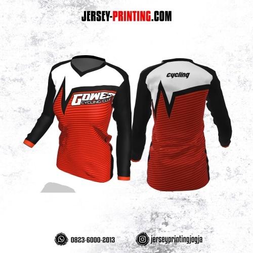 Jersey Cewek Gowes Sepeda Merah Hitam Putih Motif Stripe Lengan Panjang
