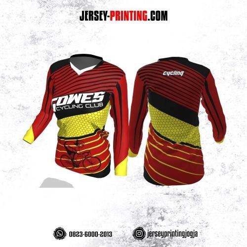 Jersey Cewek Gowes Sepeda Merah Motif Garis Hitam Kuning Lengan Panjang
