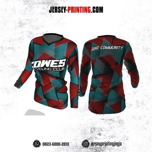Jersey Cewek Gowes Sepeda Merah Tosca Hitam Motif Garis Geometris Lengan Panjang