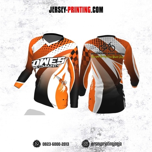 Jersey Cewek Gowes Sepeda Orange Putih Motif Polkadot Hitam Lengan Panjang