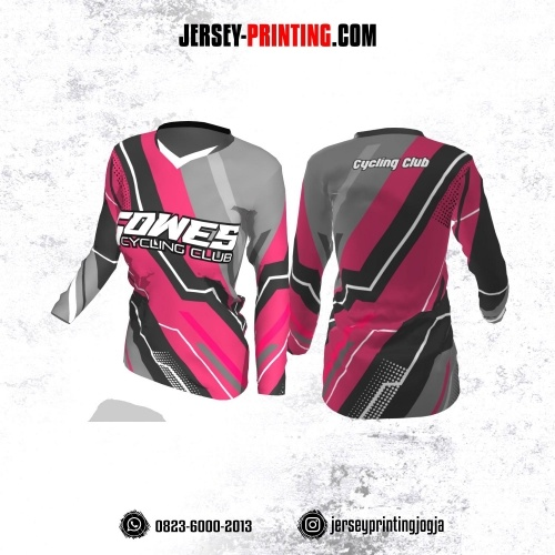 Jersey Cewek Gowes Sepeda Pink Abu-abu Corak Hitam Putih Lengan Panjang