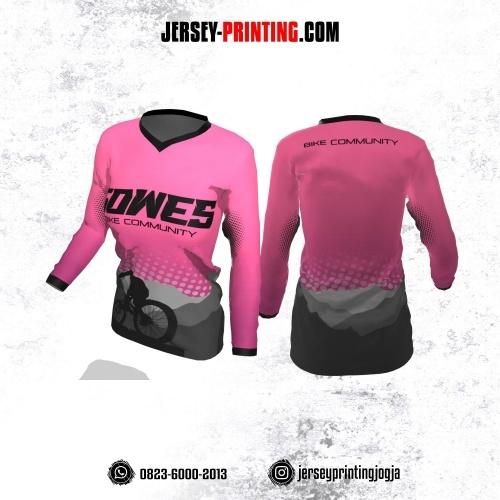 Jersey Cewek Gowes Sepeda Pink Abu-abu Hitam Motif Polkadot Lengan Panjang