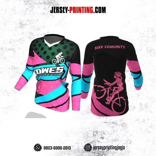 Jersey Cewek Gowes Sepeda Pink Hitam Biru Hijau Motif Batik Lengan Panjang