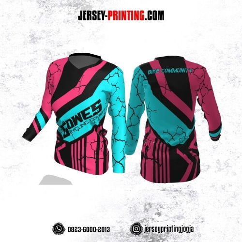 Jersey Cewek Gowes Sepeda Pink Hitam Biru Motif Retak Lengan Panjang