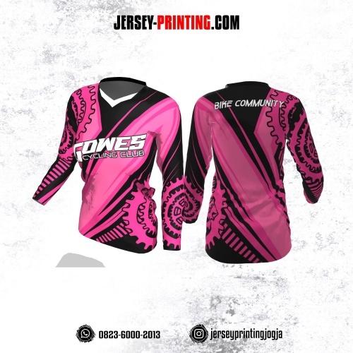 Jersey Cewek Gowes Sepeda Pink Hitam Gir Lengan Panjang
