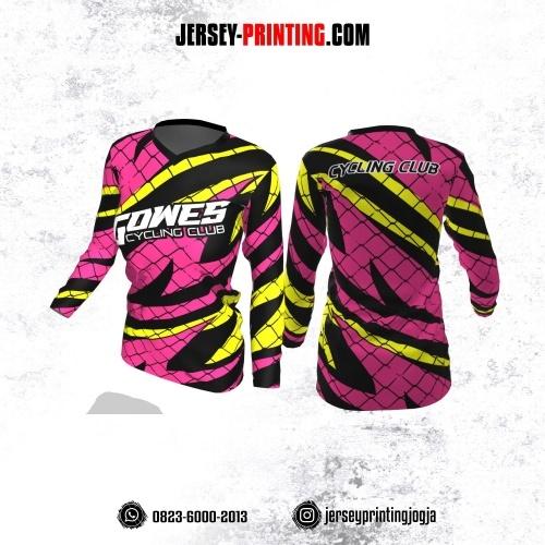 Jersey Cewek Gowes Sepeda Pink Hitam Kuning Motif Jaring Lengan Panjang