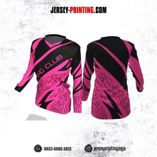 Jersey Cewek Gowes Sepeda Pink Hitam Motif Batik Lengan Panjang
