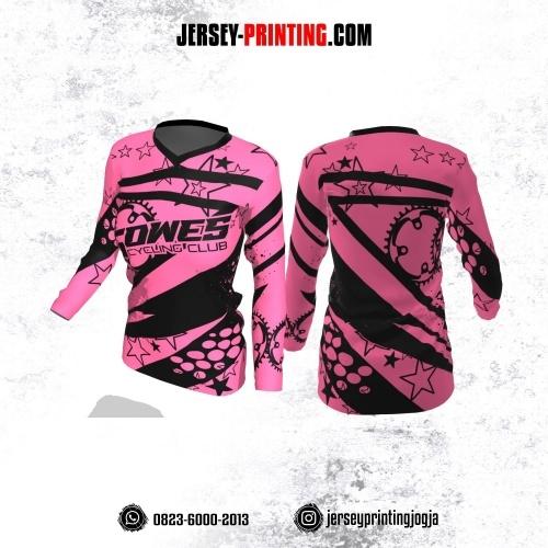 Jersey Cewek Gowes Sepeda Pink Hitam Motif Bintang Lengan Panjang