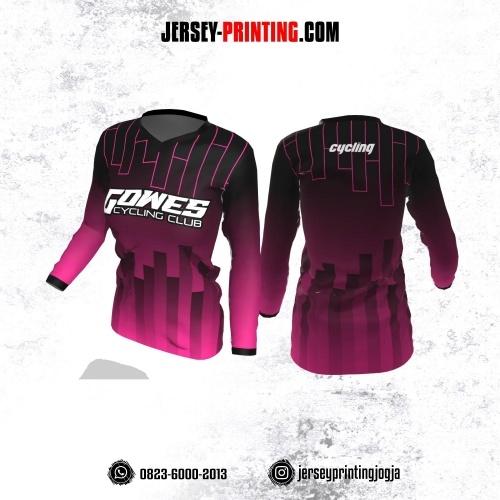 Jersey Cewek Gowes Sepeda Pink Hitam Motif Garis Lengan Panjang