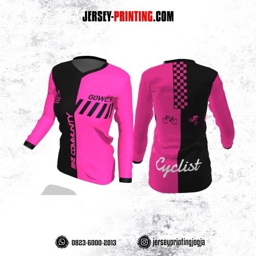 Jersey Cewek Gowes Sepeda Pink Hitam Motif Geometris Lengan Panjang