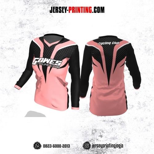 Jersey Cewek Gowes Sepeda Pink Hitam Motif Polkadot Abu-abu Lengan Panjang