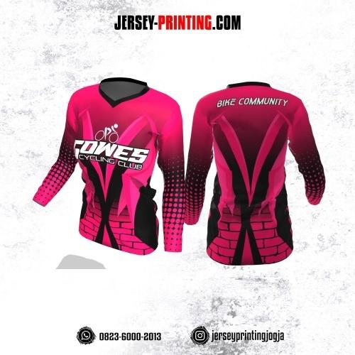 Jersey Cewek Gowes Sepeda Pink Hitam Motif Polkadot dan Bata Lengan Panjang