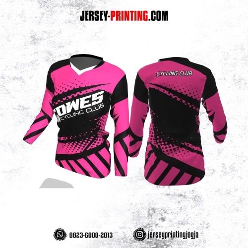 Jersey Cewek Gowes Sepeda Pink Hitam Motif Polkadot Lengan Panjang