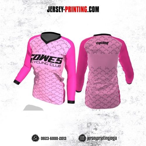 Jersey Cewek Gowes Sepeda Pink Hitam Motif Seamless Lengan Panjang