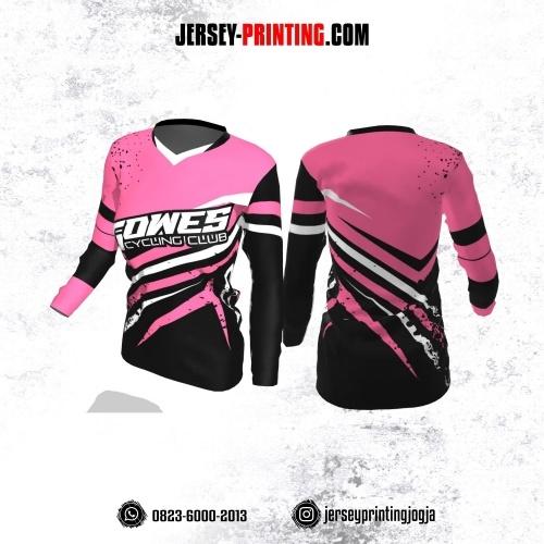 Jersey Cewek Gowes Sepeda Pink Hitam Putih Motif Bercak Lengan Panjang