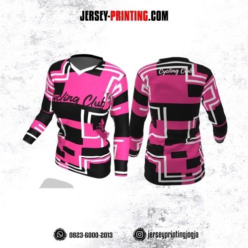 Jersey Cewek Gowes Sepeda Pink Hitam Putih Motif Geometris Lengan Panjang