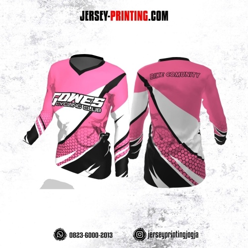 Jersey Cewek Gowes Sepeda Pink Hitam Putih Motif Honeycomb Lengan Panjang
