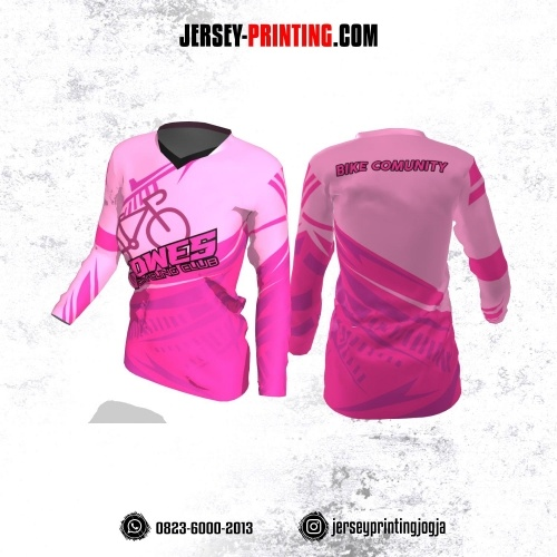 Jersey Cewek Gowes Sepeda Pink Kombinasi Lengan Panjang