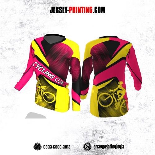 Jersey Cewek Gowes Sepeda Pink Kuning Brush Hitam Lengan Panjang