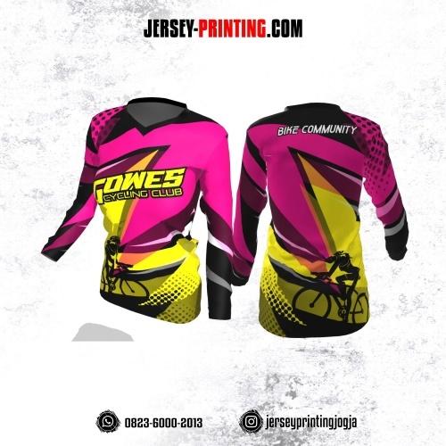 Jersey Cewek Gowes Sepeda Pink Kuning Hitam Motif Polkadot Lengan Panjang