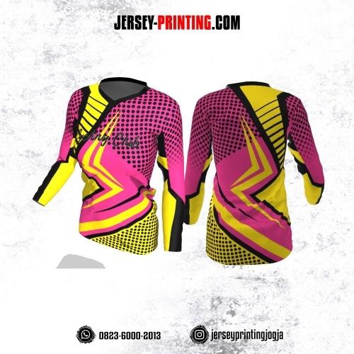 Jersey Cewek Gowes Sepeda Pink Kuning Motif Polkadot Hitam Lengan Panjang