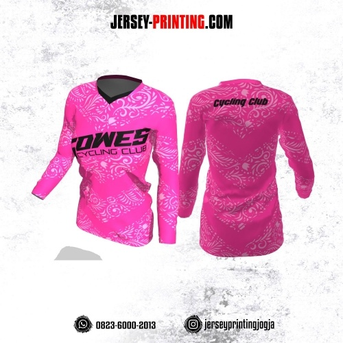 Jersey Cewek Gowes Sepeda Pink Motif Batik Lengan Panjang