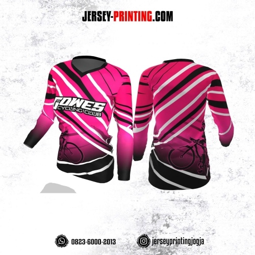 Jersey Cewek Gowes Sepeda Pink Motif Garis Hitam Putih Lengan Panjang