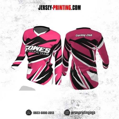 Jersey Cewek Gowes Sepeda Pink Motif Kilat Hitam Putih Lengan Panjang